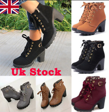 New Womens Ladies Ankle Boots High Block Heel Buckle Lace Up Casual Shoes Sizes