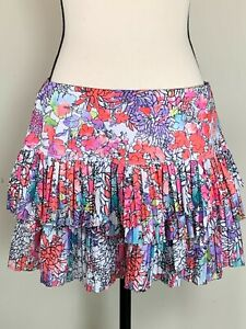 Lucky In Love Woman's Large 12 Tennis Skort Floral Print Stretch Pleated Skirt