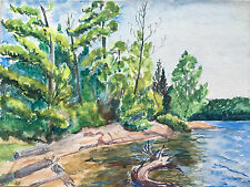 Vtg Landscape Watercolor Painting Algonquin Ontario by Sandy Wieland PA Artist