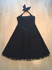 Schwarzes Jaquard Corsagenkleid mit Neckholder Größe 38 zu verkaufen