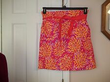 ISLAND REPUBLIC LADIES SIZE 10 SHORT SKIRT HOT PINK YELLOW ORANGE COTTON/SPANDEX