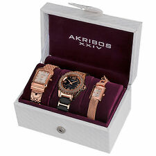 New Women's Akribos XXIV AK600RG Elegant Rose-tone Diamond Bracelet Watch Set