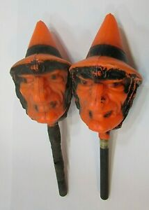 Pair Vintage Bayshore Blow Mold Plastic Halloween Witch Maracas Shakers FREE S/H