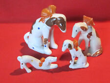 Vintage stylized Borzoi or Russian Wolfhound porcelain dog figurines w/ bows
