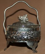 Vintage ornate metal/glass footed sugar bowl