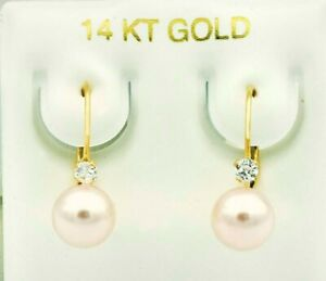 GENUINE PINK PEARLS & WHITE SAPPHIRE DANGLING EARRINGS 14K GOLD *New With Tag *