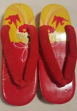 RARE Vintage Japanese /Oriental  Red Sandals Wood Shoes Womens