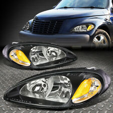 FOR 01-05 CHRYSLER PT CRUISER BLACK HOUSING AMBER CORNER HEADLIGHT HEAD LAMPS