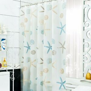 Bathroom Shower Curtain Waterproof PEVA Environmental Bath Curtain with Hooks