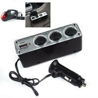 3 Way Multi Socket Car Cigarette Lighter Splitter USB Plug Charger DC 12V Pi_DS