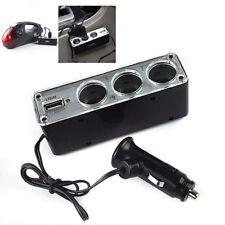 3 Way Multi Socket Car Cigarette Lighter Splitter USB Plug Charger DC 12V/2 M&C