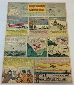1955 cartoon page ~ FIRST FLIGHT OVER THE SOUTH POLE Admiral Byrd~ 9.5x12 inches