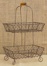 Two Tier Wire Basket Fruit Veggie Stand Footed Dessert Basket Farmhouse Decor