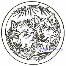 Wolf Pair Circle Wood Mounted Rubber Stamp NORTHWOODS Rubber Stamp CC9051 New