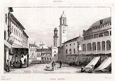 PADOVA: Piazza dei Signori. Regno Lombardo-Veneto. ACCIAIO. Stampa Antica. 1838
