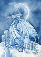 """Amy Brown Crystal Dragon Signed Numbered Limited Print 11"""" x 14"""" Blue #25/50"""