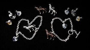 Bella's Charm Bracelet -Choose Wolf, Heart - Made with Swarovski - Twilight Gift
