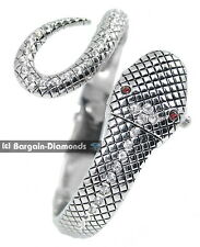 ladies snake silver fashion dress cuff watch bracelet white crystals red eyes