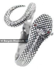 ladies snake silver fashion dress cuff watch bracelet white crystals red eyes