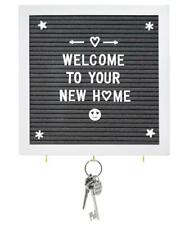 "Grey Felt Letter Board with Key Hooks - 10"" x 10"" White Frame - Use White Wood S"