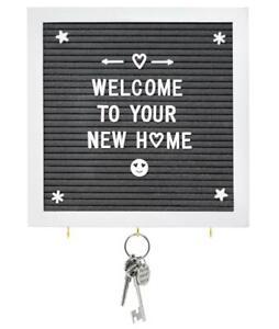 "Grey Felt Letter Board with Key Hooks - 10"" x 10"" White Frame - Use White Wood S"