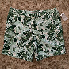 Womens Plus Size 16W Green White Leaf Design Dalia Shorts Linen Blend D1660X