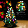 """15"""" Prelit Hand-Painted Ceramic Tabletop Christmas Tree Battery Powered Home"""