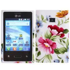 TPU Case Schutzhülle für LG E400 Optimus L3 bunte Blumen Etui Hülle Cover