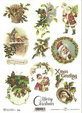 Rice Paper for Decoupage Scrapbooking, Christmas Vintage Santa A4 ITD R444