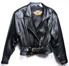 Vintage HARLEY DAVIDSON Motorcycle Jacket. Women's Black Leather Small NICE
