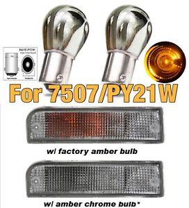 Rear Turn Signal Light Stealth Silver Chrome Bulb Amber BAU15S 7507 PY21W JDM