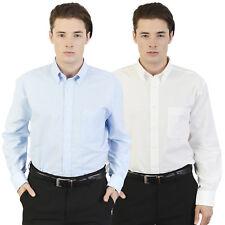 Mens Oxford Shirt Button Collar Work Office Business Smart Formal Wedding