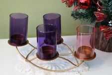 Advent Wreath Purple Pink Glass Globes Gold Wire Base and 4 Advent Taper Candles