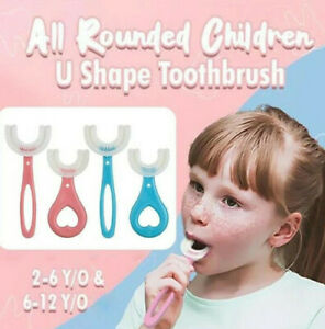 Portable All Rounded Children U Shape Toothbrush Baby Silicone Ages 2-12 Infant