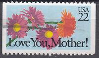 USA Briefmarke gestempelt 22c Love you Mother Blumen aus Markenheft / 1002