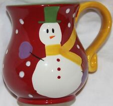 Pier 1 Imports Snowman Mug Cup Hand-Painted Dolomite Snow Ball Red & White New