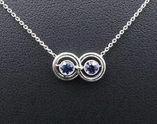 "Custom Designer Platinum Sapphire Infinity Pendant Necklace 18"" NG743"