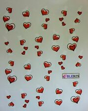 Valentines Nail Art Water Decals Stickers RED Love Hearts Gel Polish (BLE925)