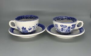 Buffalo China Restaurant Ware Blue Willow Chinoiserie 2 Coffee Cups W/Saucers