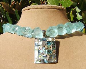 "RAW SUGAR ROUGH AQUA QUARTZ Statement Necklace Abalone Mosaic Pendant ""Sea Opal"""