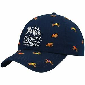 Kentucky Derby 147 Ahead Horses All-Over Print Adjustable Hat - Navy