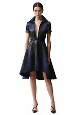Naeem Khan Sequin Cocktail High-Low Hem Flare Dress in Black/Navy Size 8 NEW