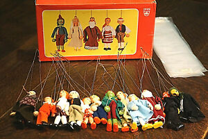 """1970's Czechoslovakian JAS Toys 12 Puppets NEW in Box 13"""" Rod Puppet Marionettes"""