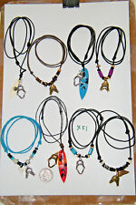 """Lot of 8 SHARK Tooth Necklaces SurfBoard Silver JAWS OPEN! Summer Choker 15""""-28"""""""