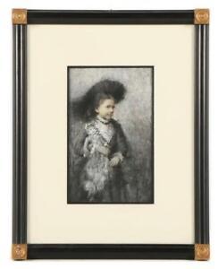 Portrait of a Girl with her Doll William St. John Harper Oil Pastel Gouache