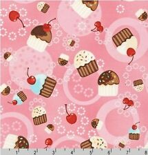 FAT QUARTER-Tossed Cupcake Robert Kaufman Fabric Confections ESK-8102-10 PINK