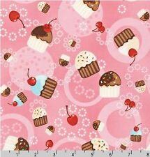 FAT QUARTER-Tossed Cupcake Robert Kaufman Fabric Confections ESK-8102-10 PINK