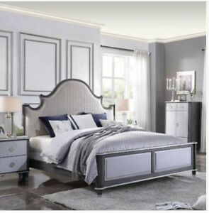 Acme House Beatrice Queen Bed In Two Tone Beige Fabric, Charcoal & Light Gray
