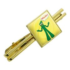 Who Me? - Gumby Clay Art Square Tie Bar Clip Clasp Tack- Silver or Gold