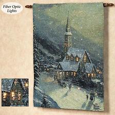 Moonlit Village Christmas Fiber Optic Tapestry Wall Hanging ~ Thomas Kinkade